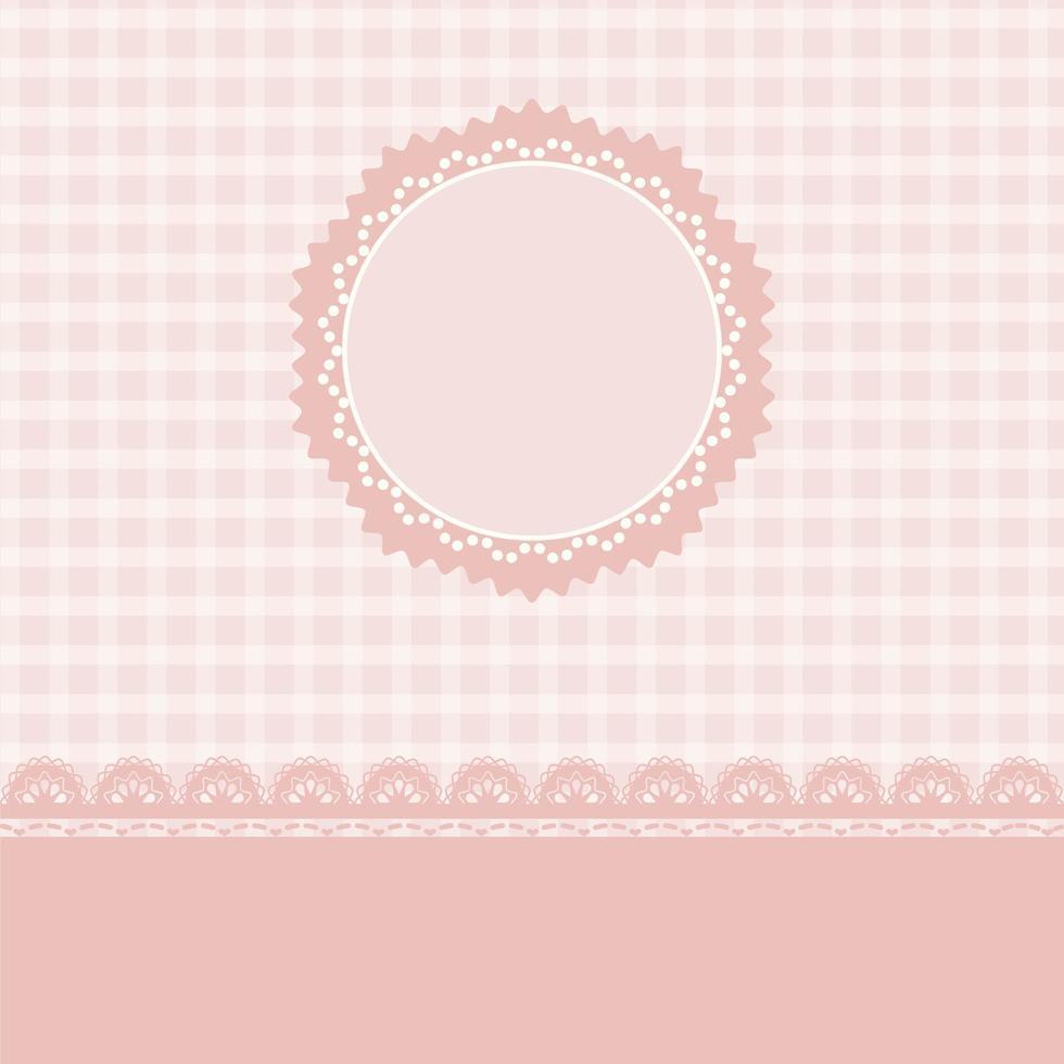 design de renda e listras rosa com moldura de círculo vetor
