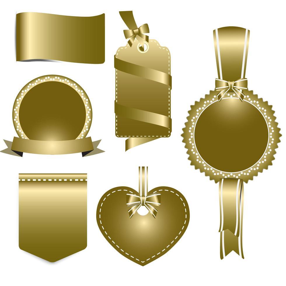 conjunto de emblemas de ouro, etiquetas e fitas vetor