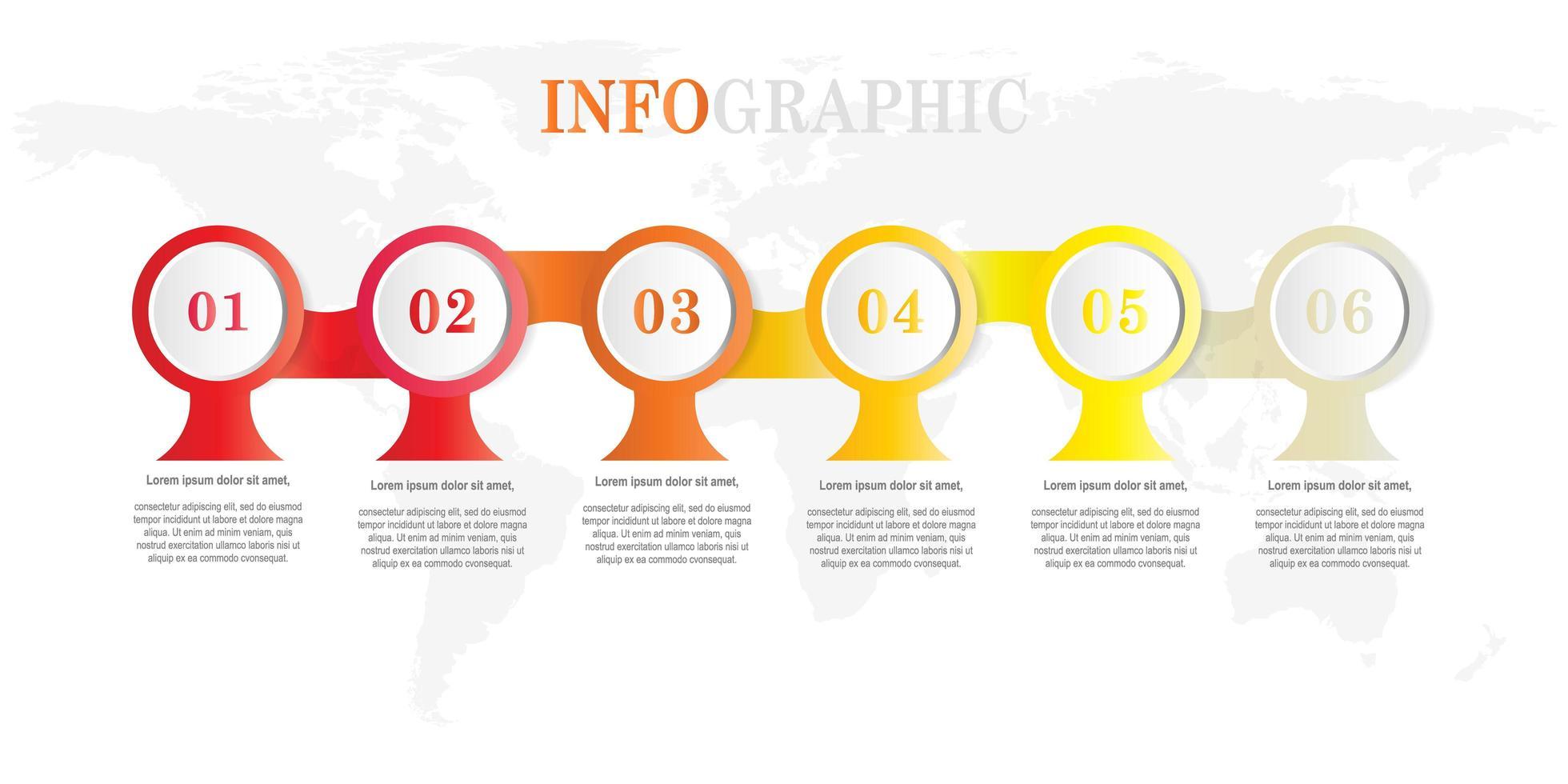 ronde vorm infographic met 6 stappen vector