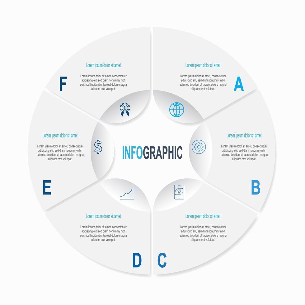 infografica circolare con 6 passaggi e icone vettore