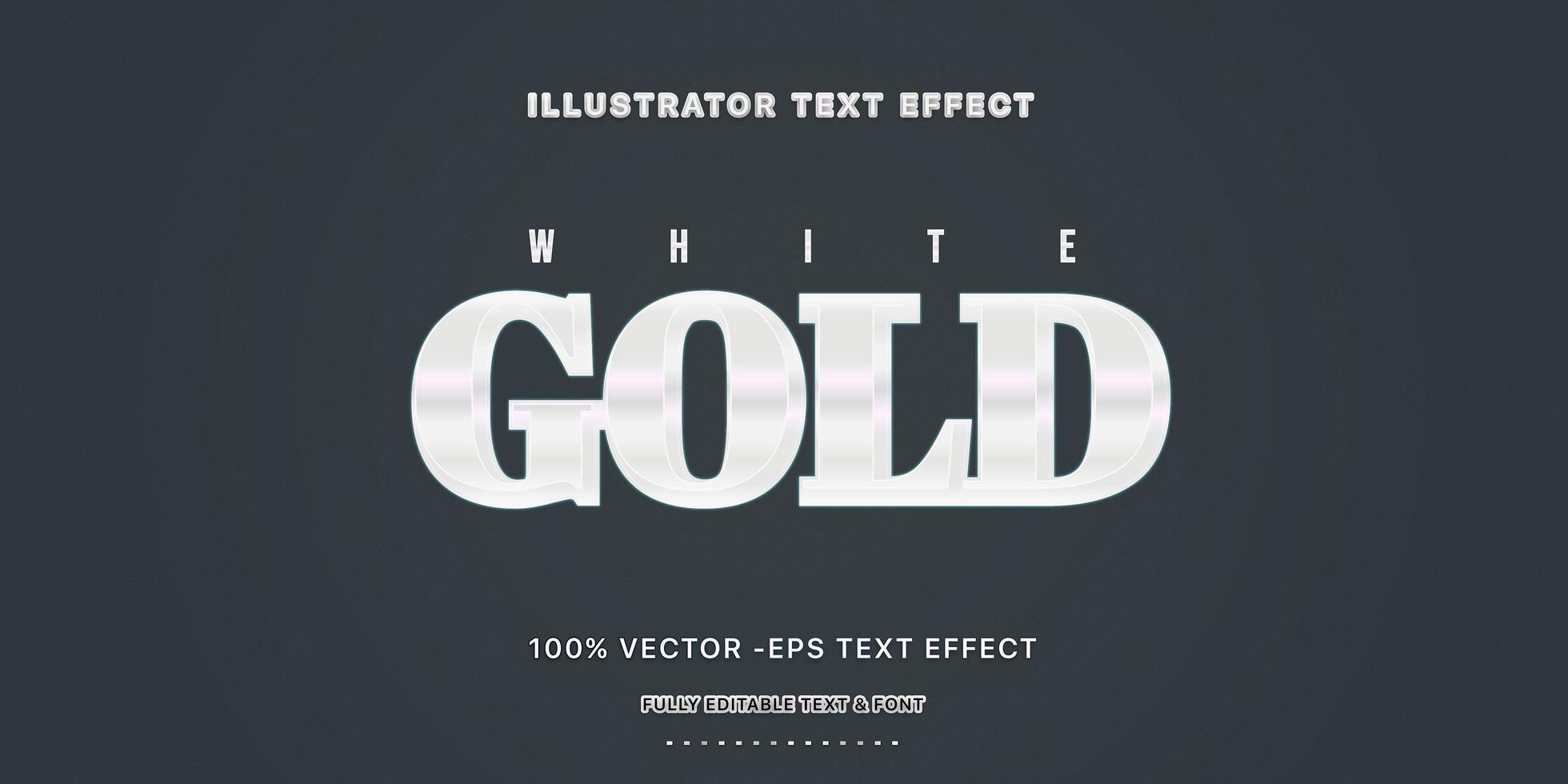 estilo de texto editável em ouro branco vetor