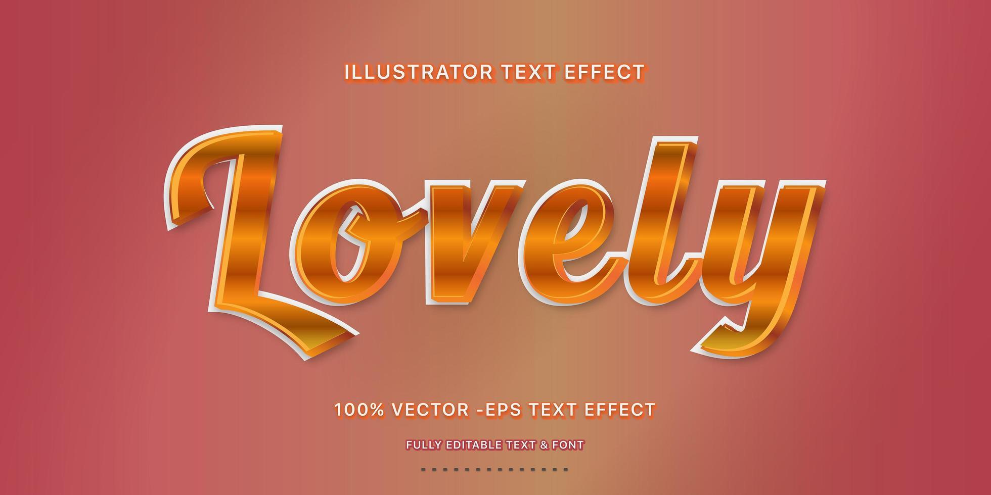 estilo de texto editável com script metálico laranja vetor