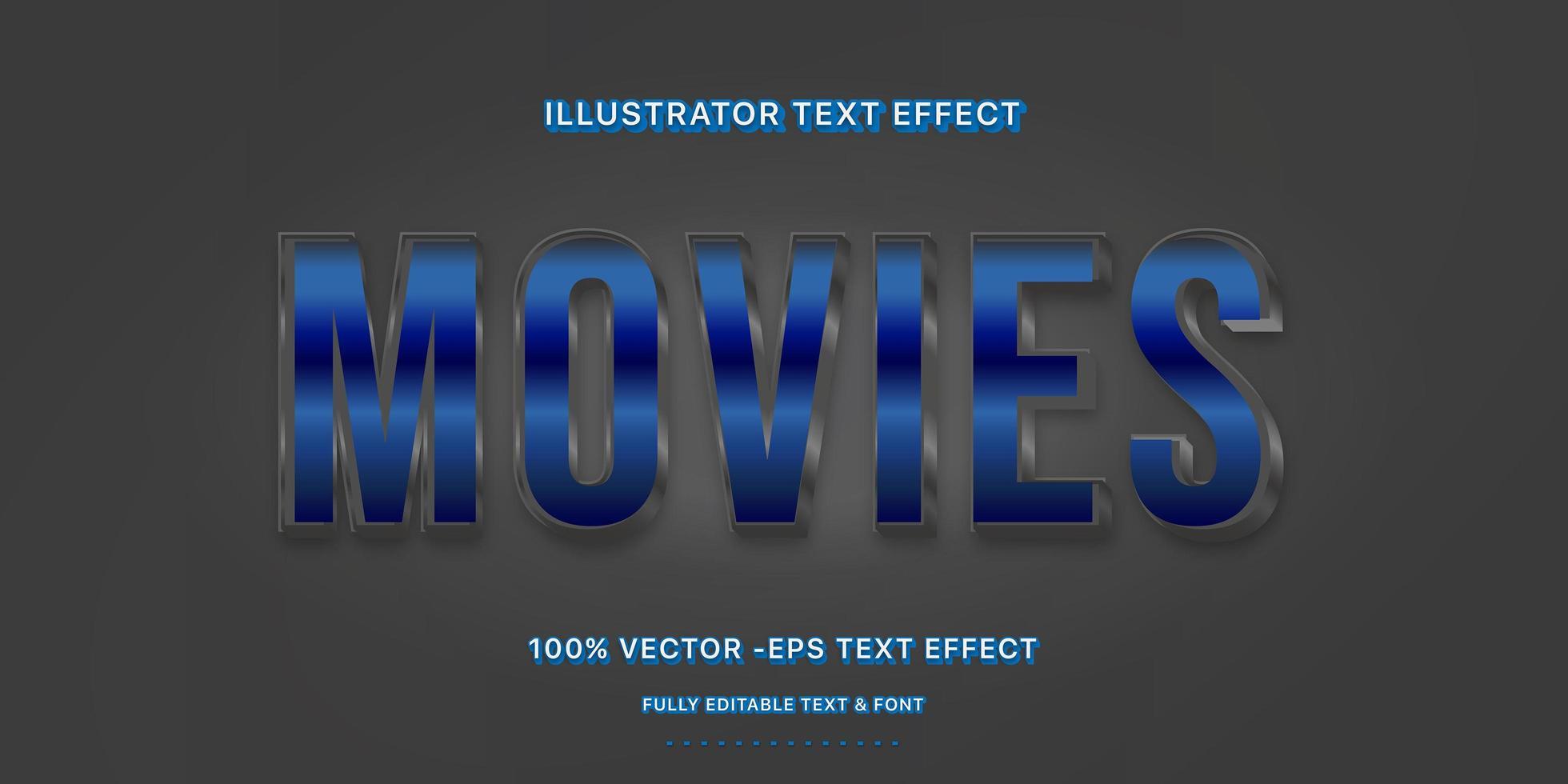 estilo de texto editável do filme metálico azul vetor