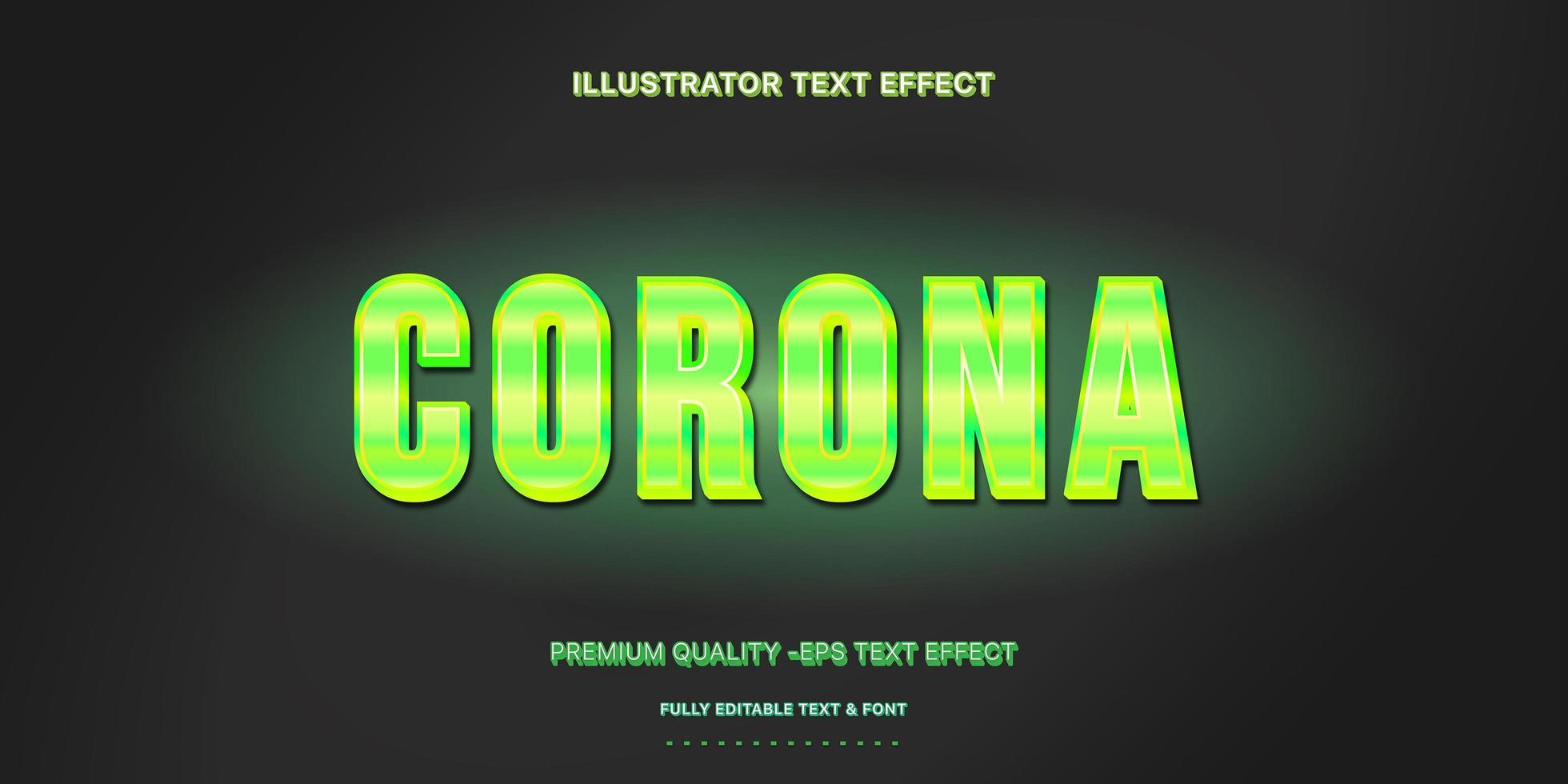 neon groene corona bewerkbare tekststijl vector