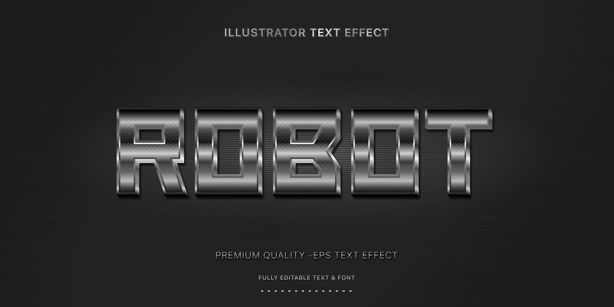 estilo de texto editável de meio-tom metálico vetor