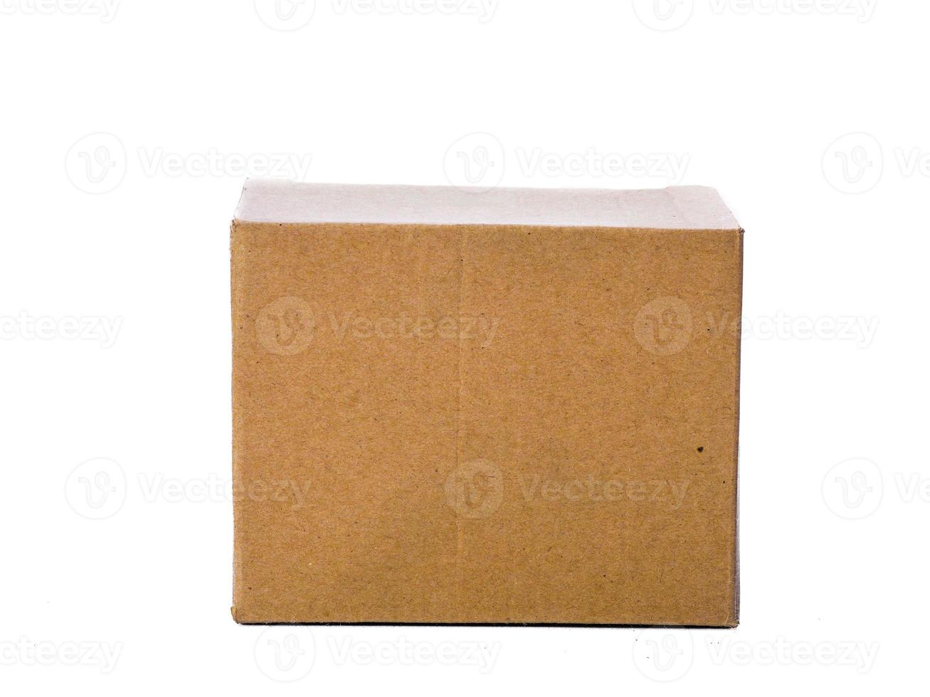 Front cardboard box, isolated on white photo