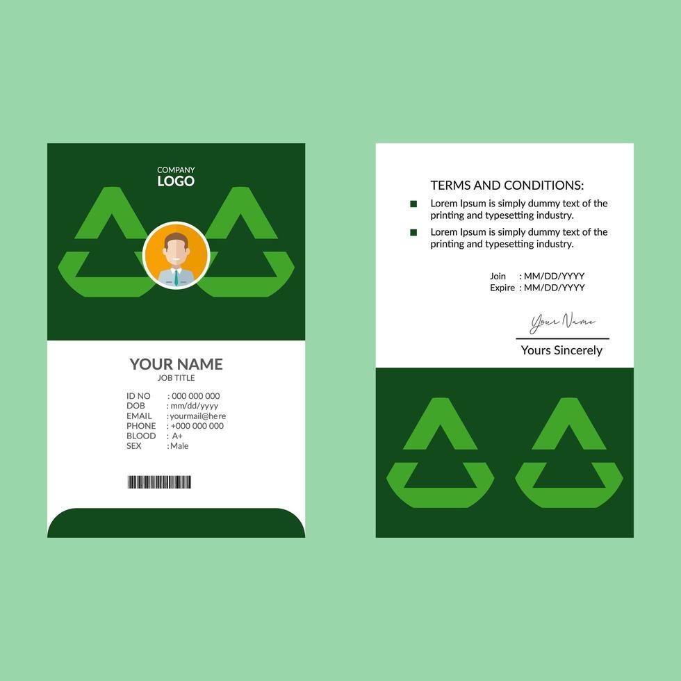 modelo de design de cartão de identificação triangular elegante verde vetor