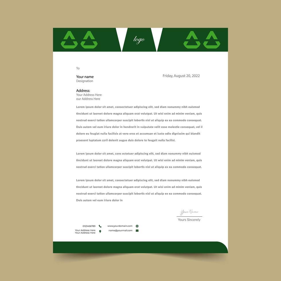 groene briefhoofd driehoekige koptekst sjabloonontwerp vector