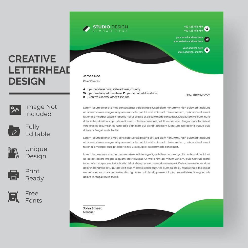 modèle de papier à en-tête de couches de vagues vertes et noires vecteur