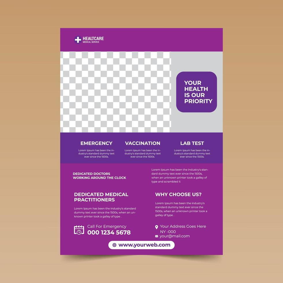 paarse medische flyer ontwerpsjabloon vector