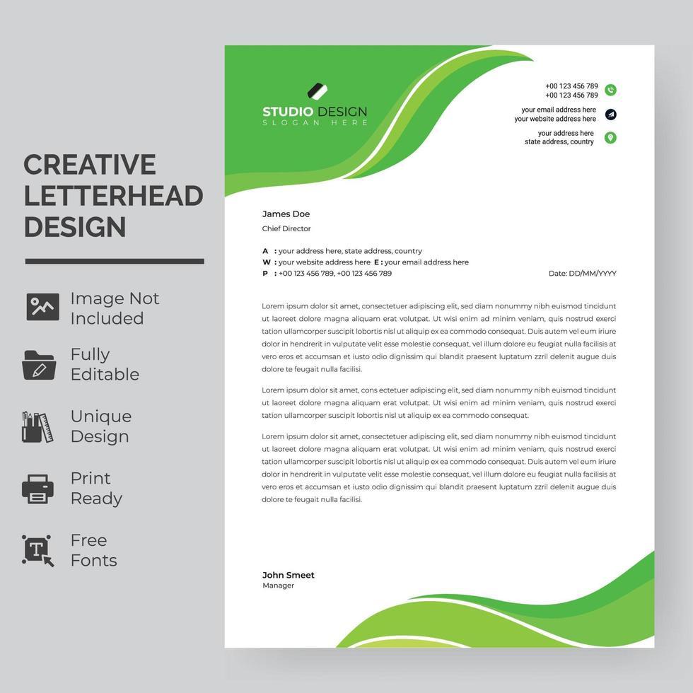 modelo de papel timbrado - ondas de folha verde vetor
