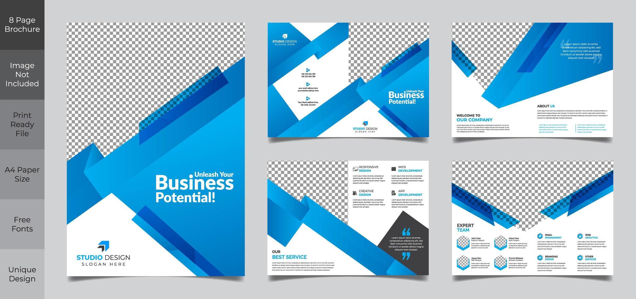 Modelo de brochura - negócios de 9 páginas vetor