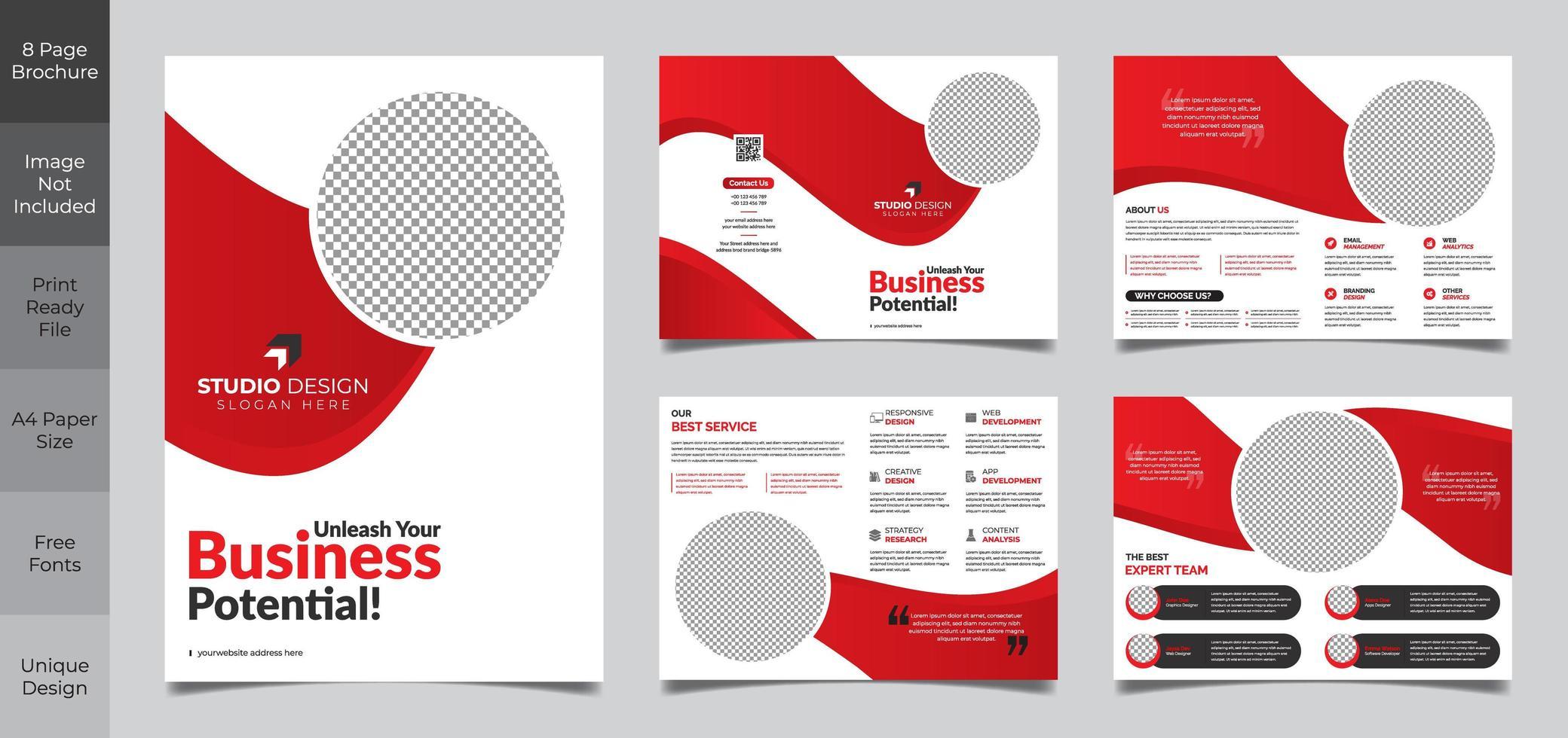 Modèle de brochure d'entreprise propre simple de 8 pages vecteur