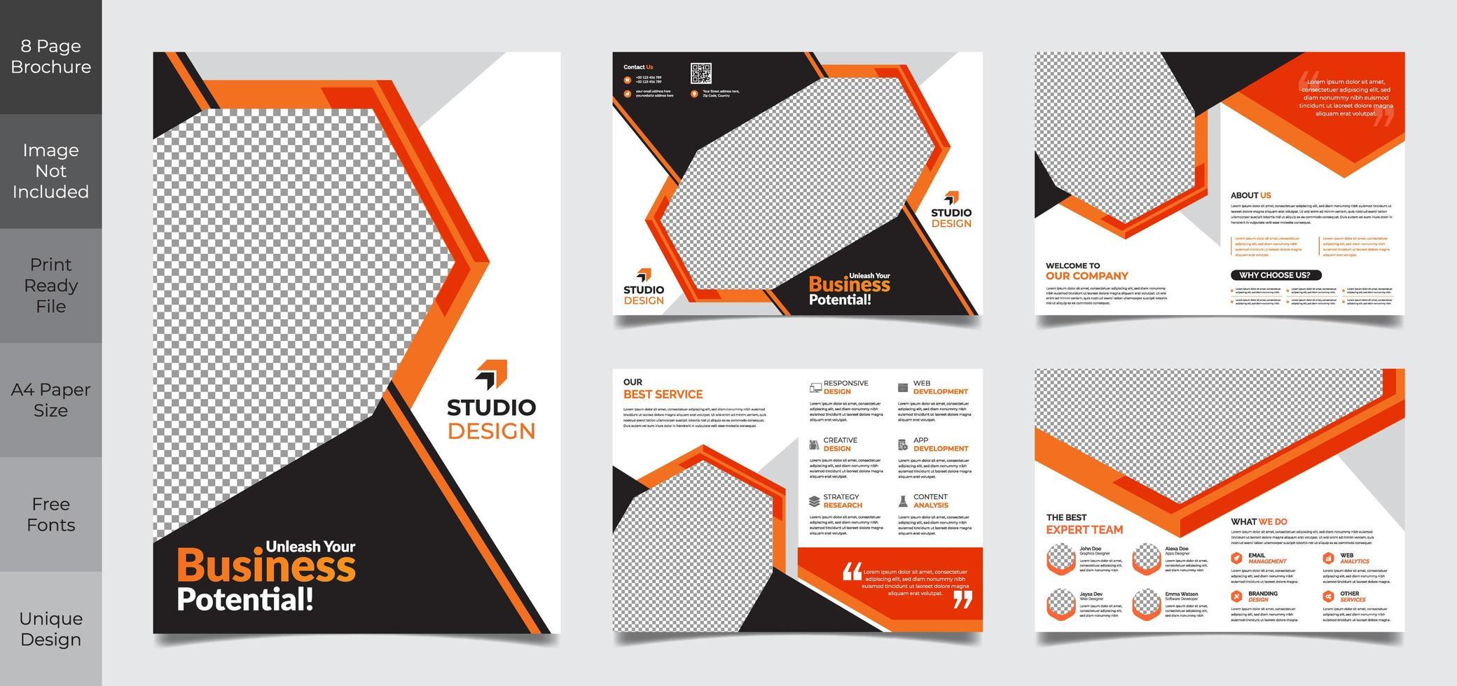 Modelo de brochura - 8 páginas preto e laranja negócios corporativos vetor