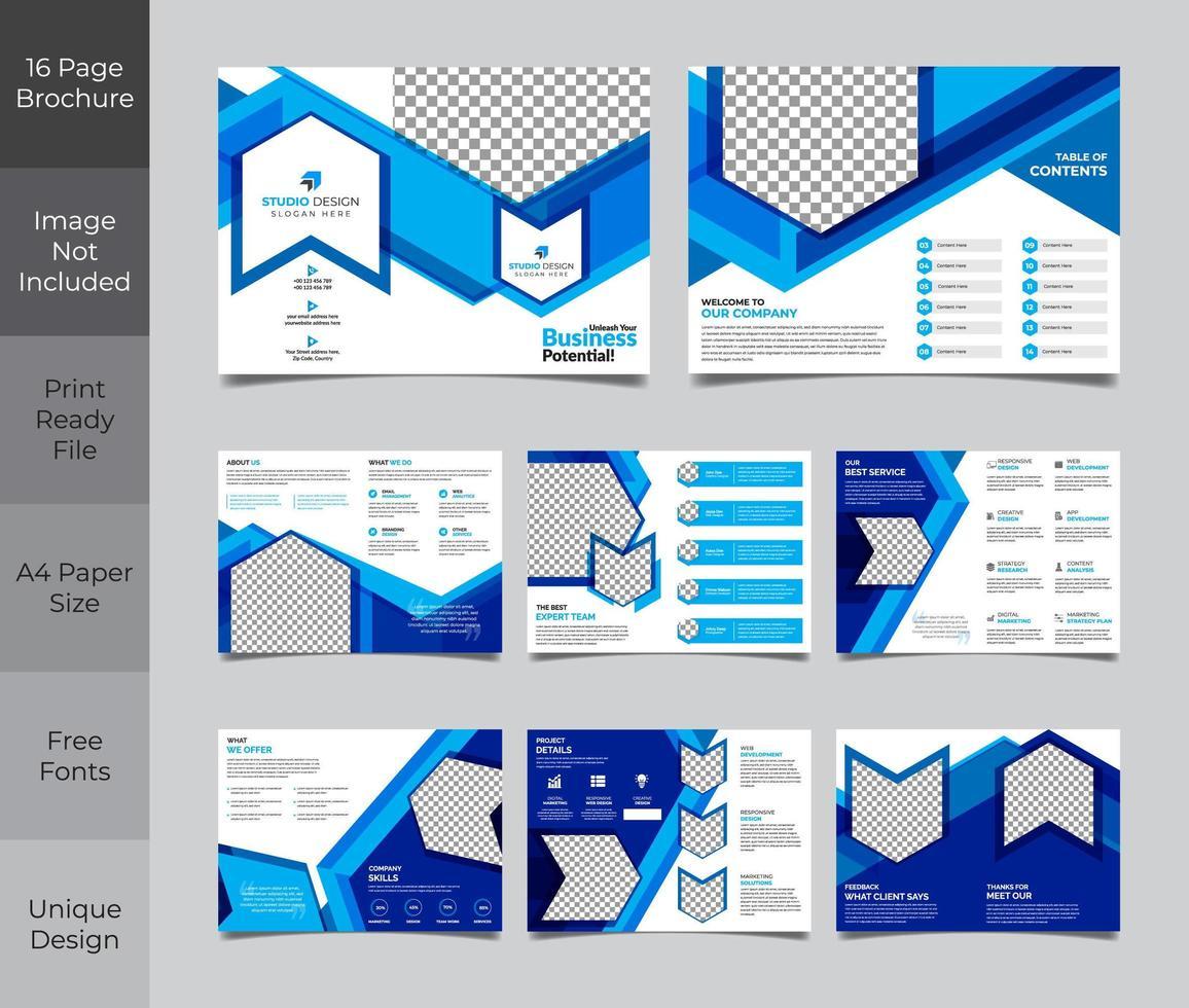 modèle de brochure d'entreprise bleu et blanc vecteur