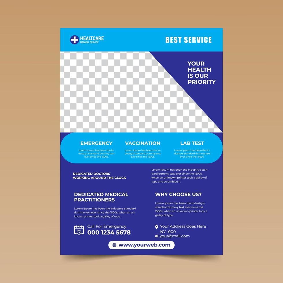 modelo de design azul médica simples panfleto limpo vetor