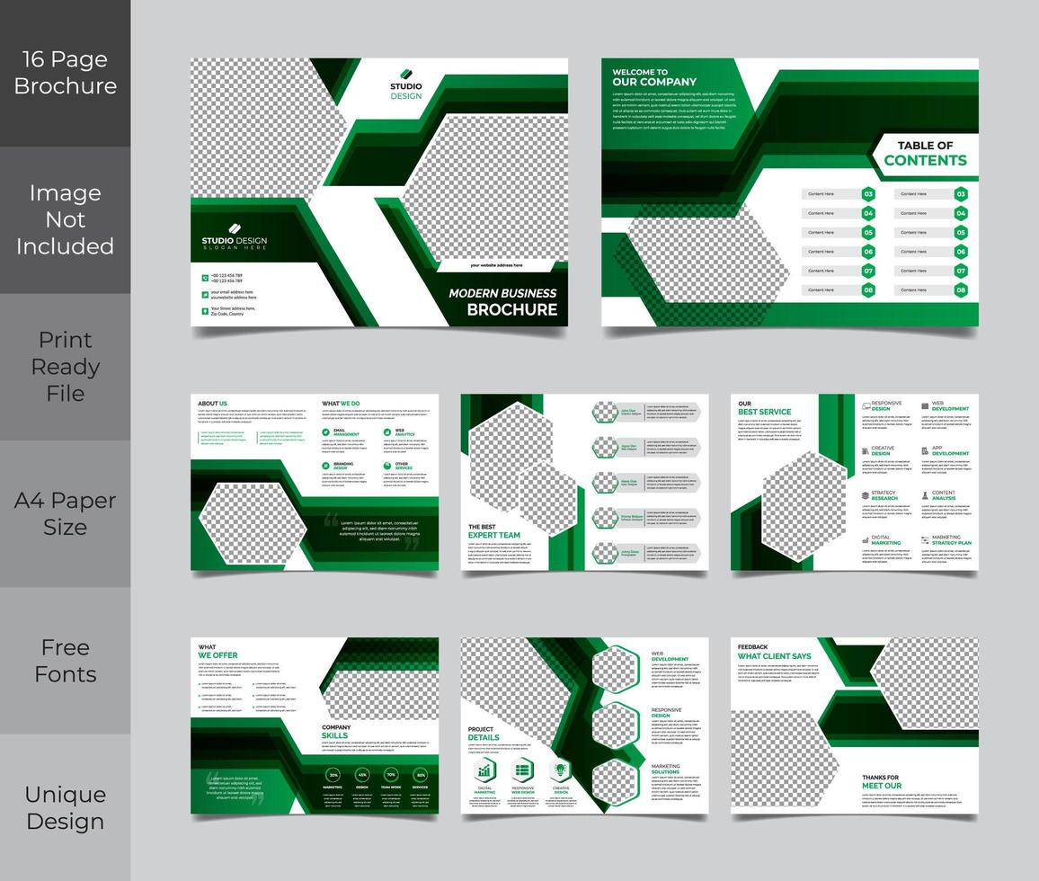 Modelo de brochura - 16 páginas verde preto negócios corporativos vetor