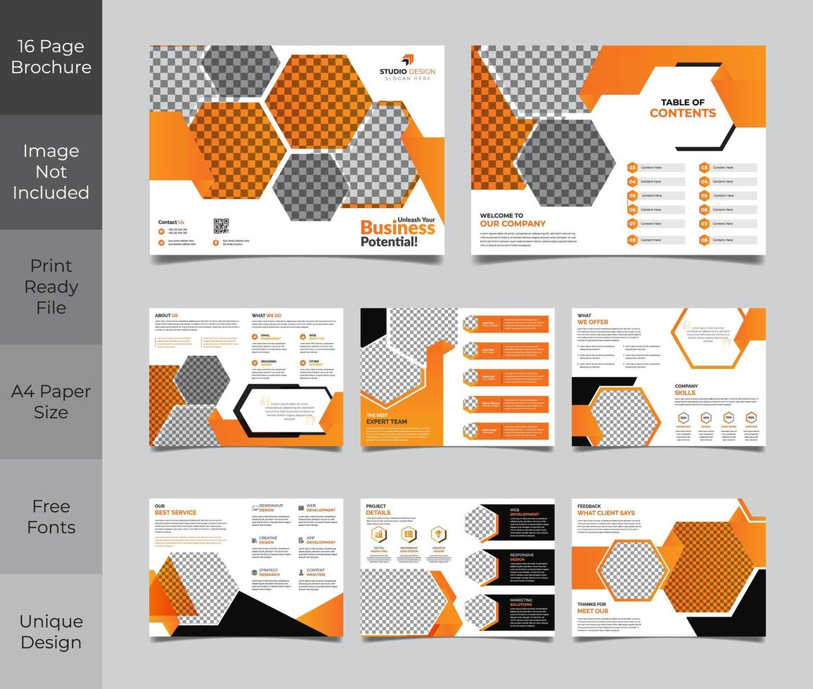 Design de modelo de folheto corporativo laranja e cinza de 16 páginas vetor