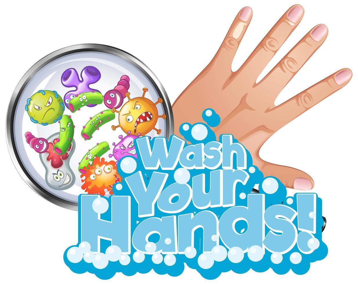 lave o design do seu tipo de mão vetor