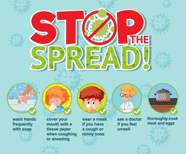 coronavirus infographics met stop de spread type design vector
