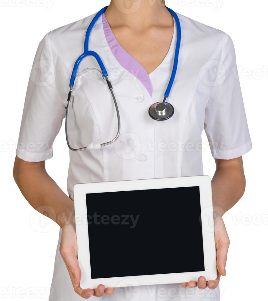 Woman doctor holding a tablet photo