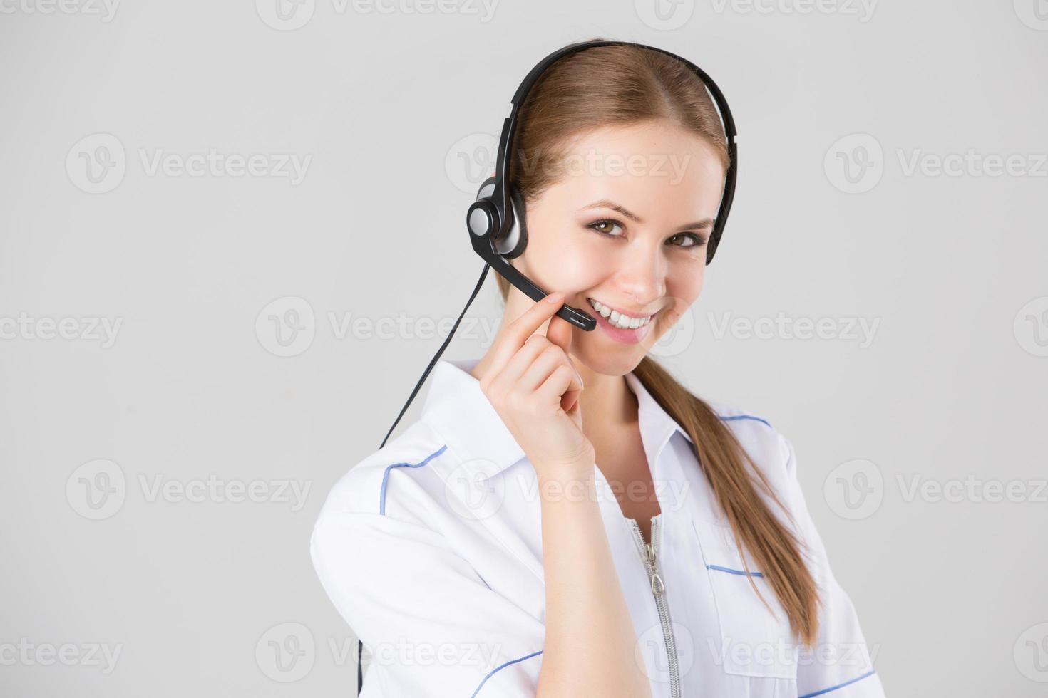 Woman customer service worker, call center smiling operator photo