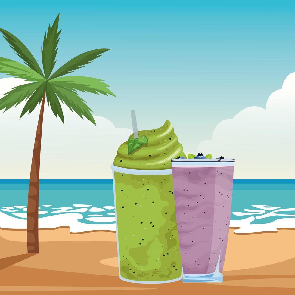 smoothie tropical bebida no fundo da praia vetor
