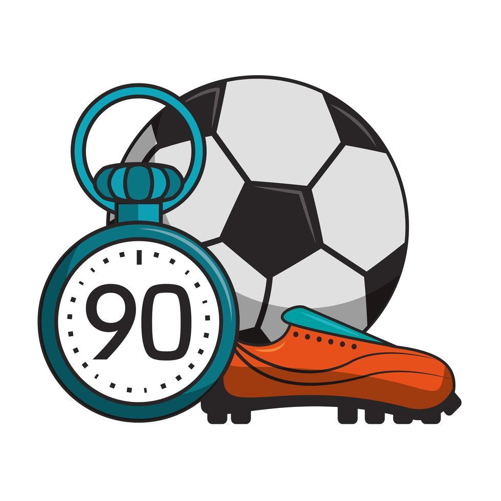 bola de futebol com desenhos animados de esporte de timer vetor
