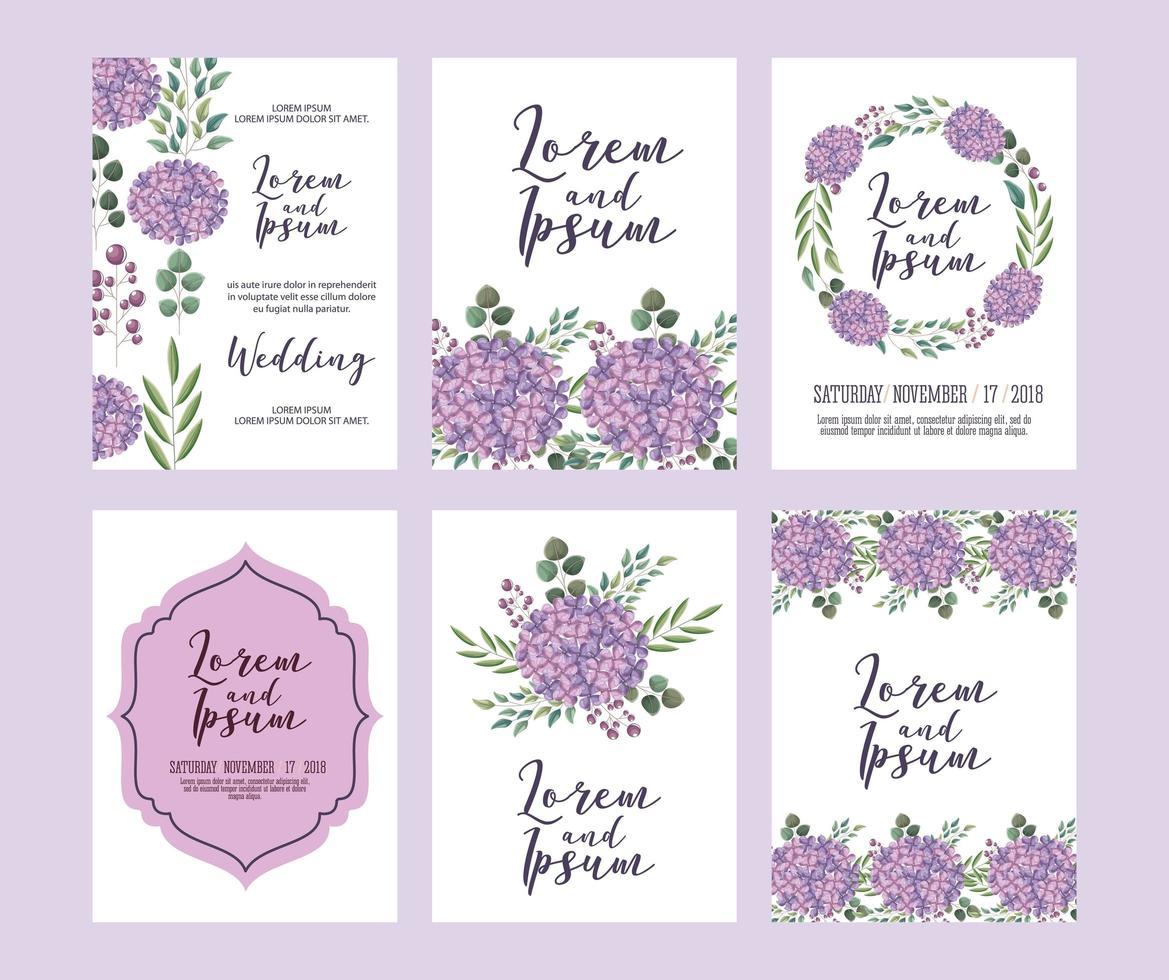 coleção de modelo floral de casamento vetor