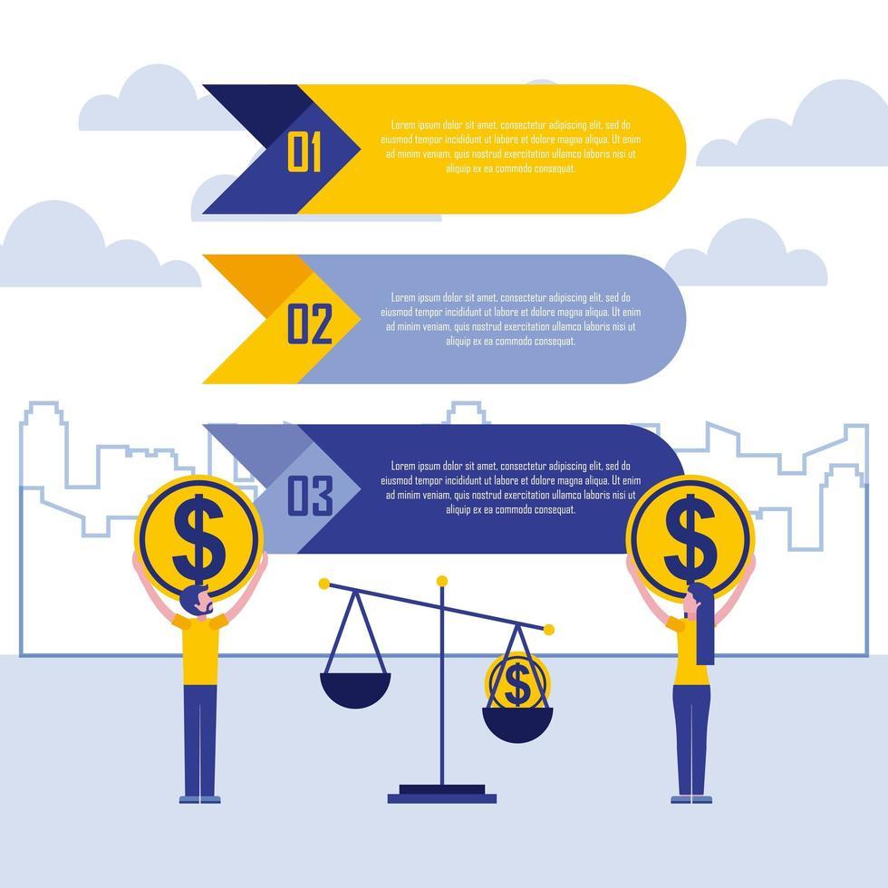 pessoas de negócios com moedas e escala infográfico vetor