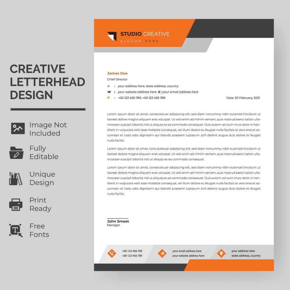 modelo de papel timbrado - banner geométrico laranja e cinza vetor