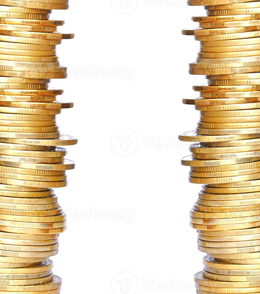 golden coins isolated on white photo