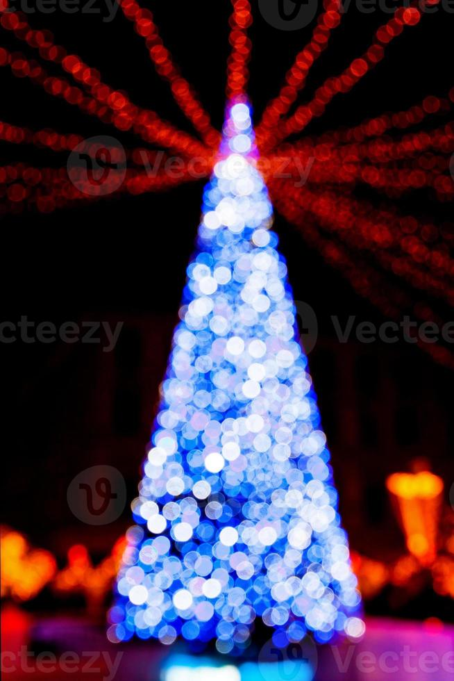 New Year tree made from bokeh lights photo