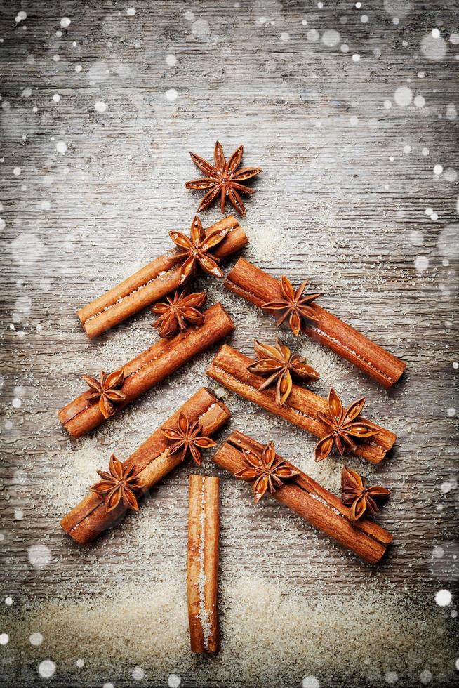 abeto de especias palitos de canela, estrella de anís para navidad foto