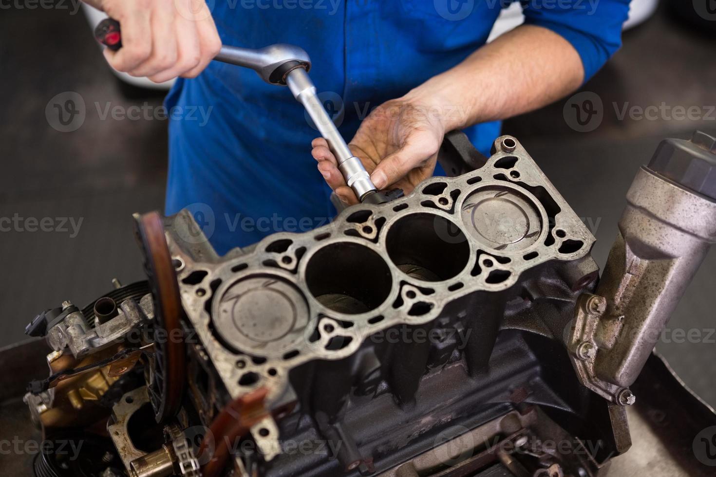 Mechanic working on an engine photo