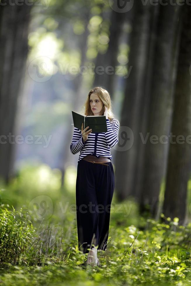 Reading a book photo