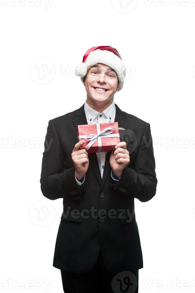 joven hombre de negocios feliz navidad foto