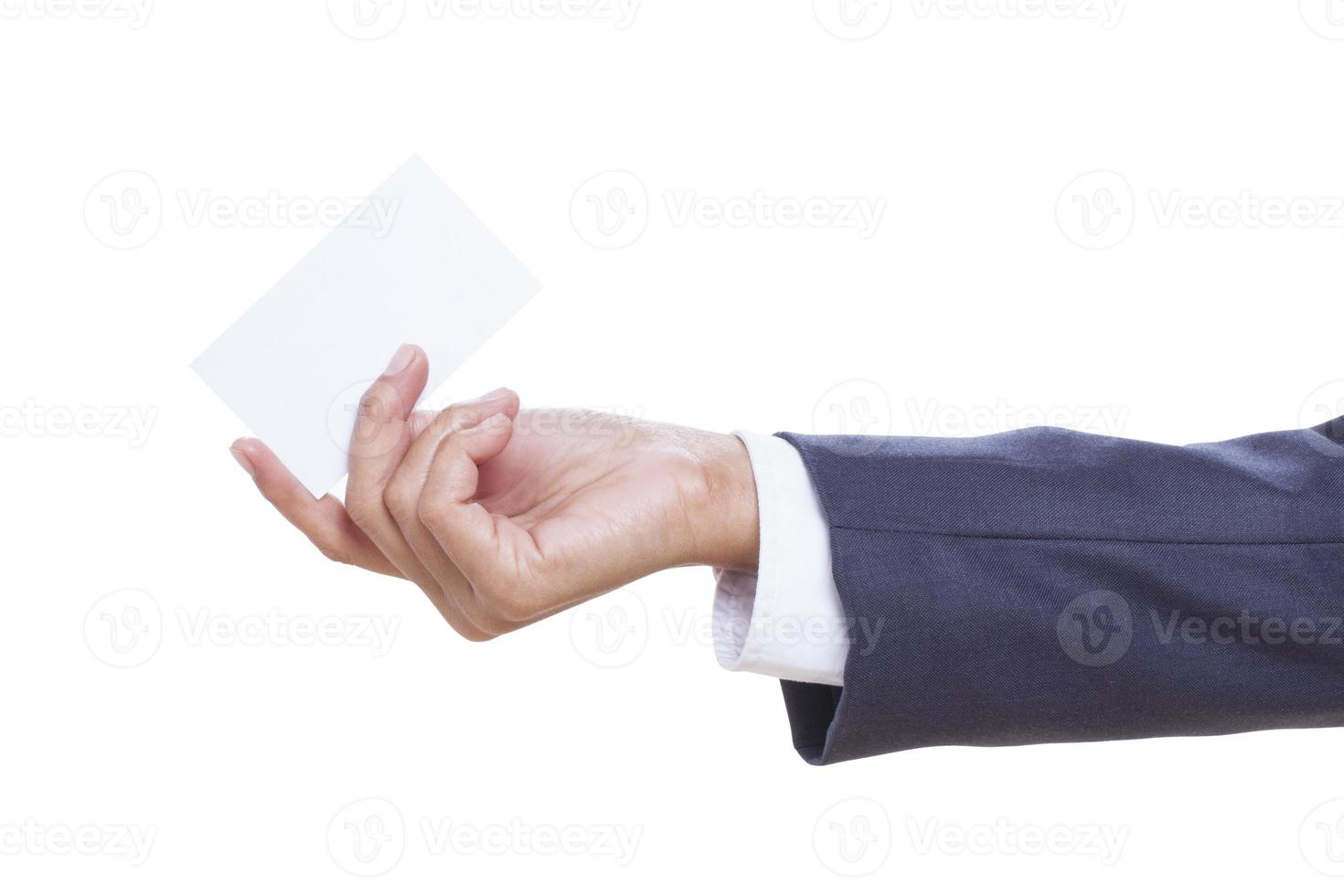 handing a blank business card, photo