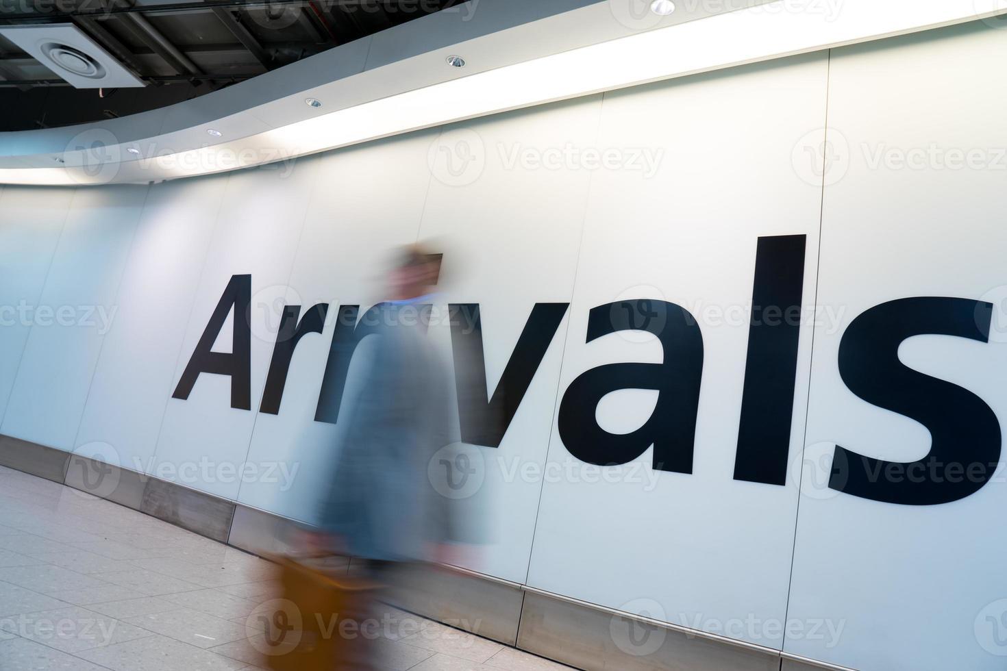 Blur Movement people arrivals Rush Hour Heathrow airport, London, UK photo