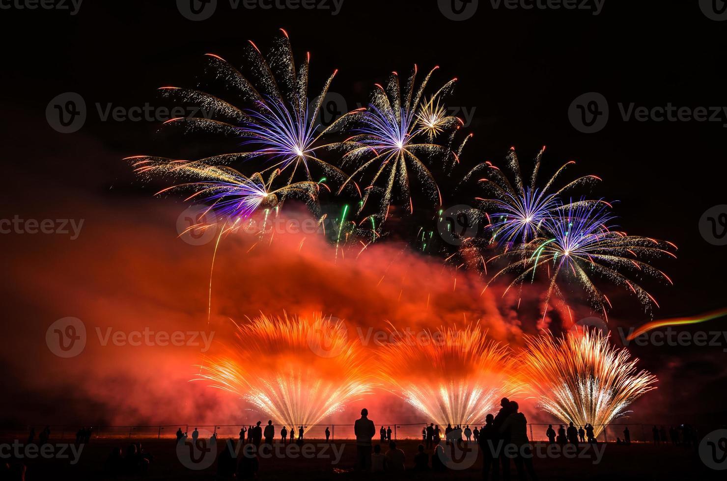 coloridos fuegos artificiales sobre el cielo nocturno foto