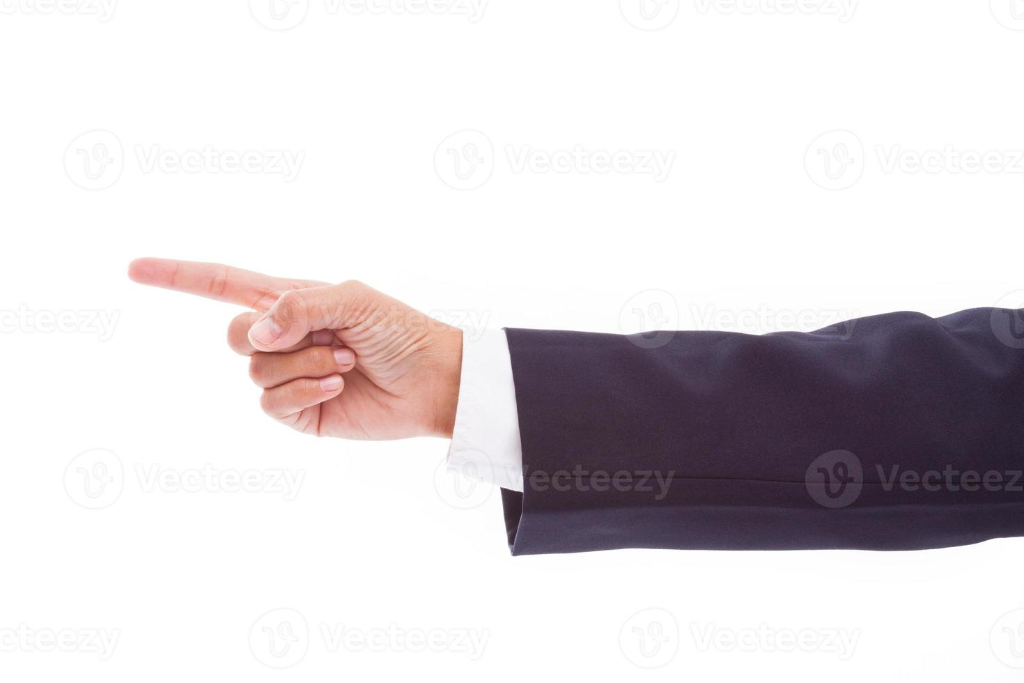 Business man's hand pointing photo