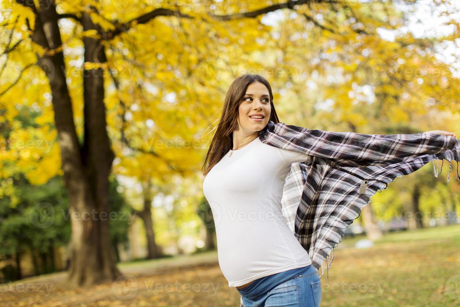 joven mujer embarazada en el parque otoño foto
