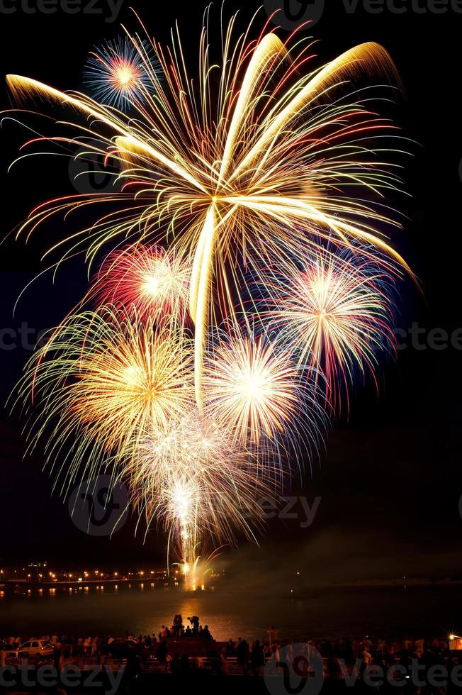 fuegos artificiales de colores brillantes en el cielo nocturno foto