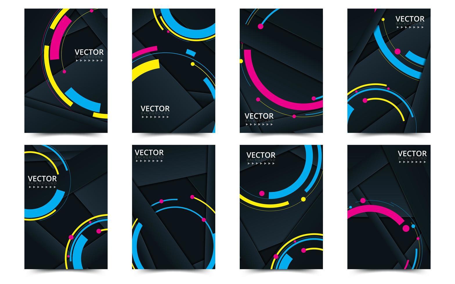 set di modello di copertina nera e neon per brochure vettore