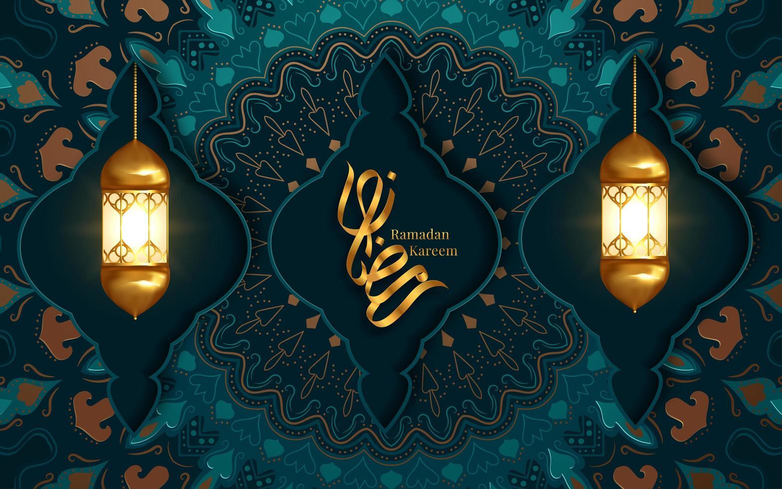 ramadan kareem groet met twee hangende lantaarns vector