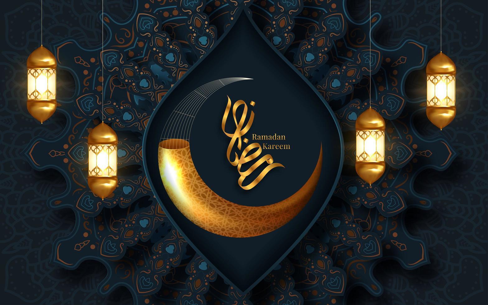 ramadan kareem lua crescente dourada fundo vetor