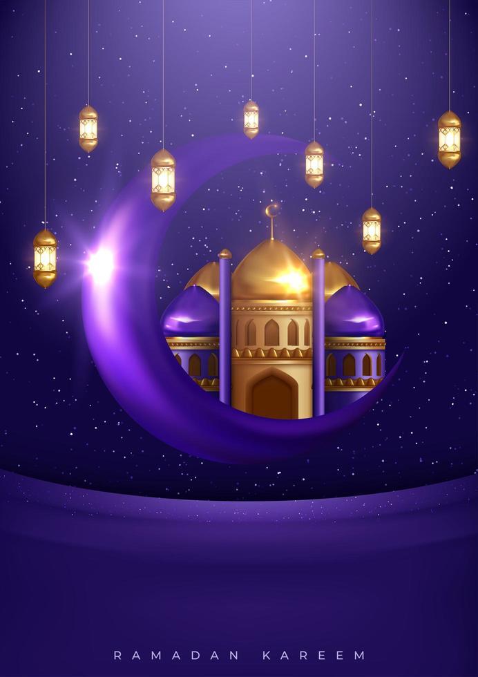 conception de la mosquée d'or islamique ramadan kareem vecteur