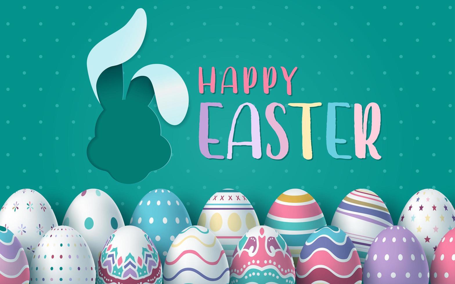 Osterkarte mit ausgeschnittener Kaninchenform und Eiern vektor