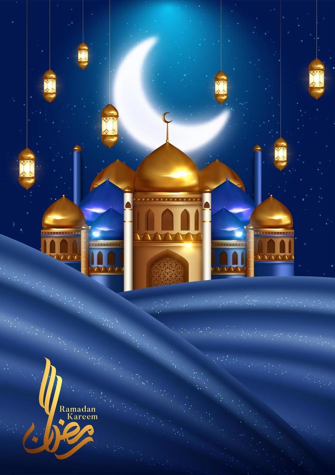 carte de voeux verticale ramadan kareem avec mosquée et rideau vecteur