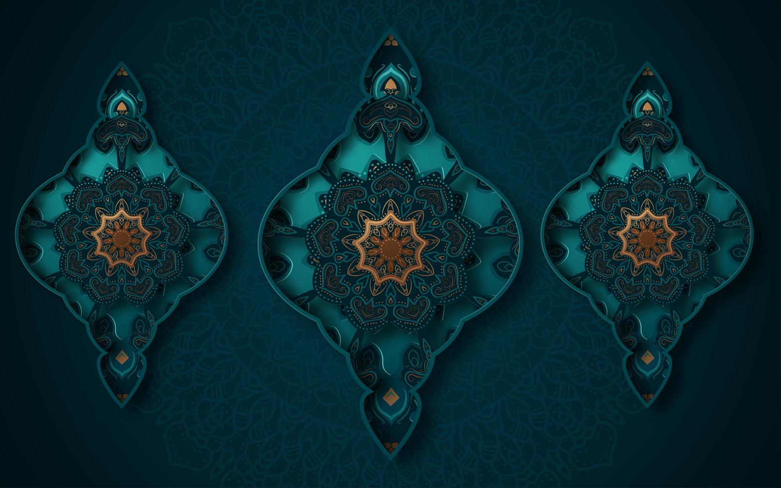 3d orné turquoise et or trois formes fond vecteur